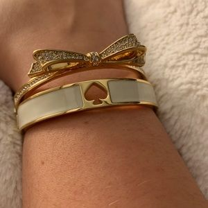 Kate Spade Bow Bracelet and White Logo Cuff